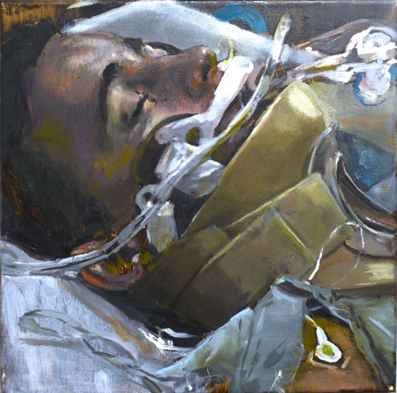 900 coma, 2016, oil on canvas, 20x20 2