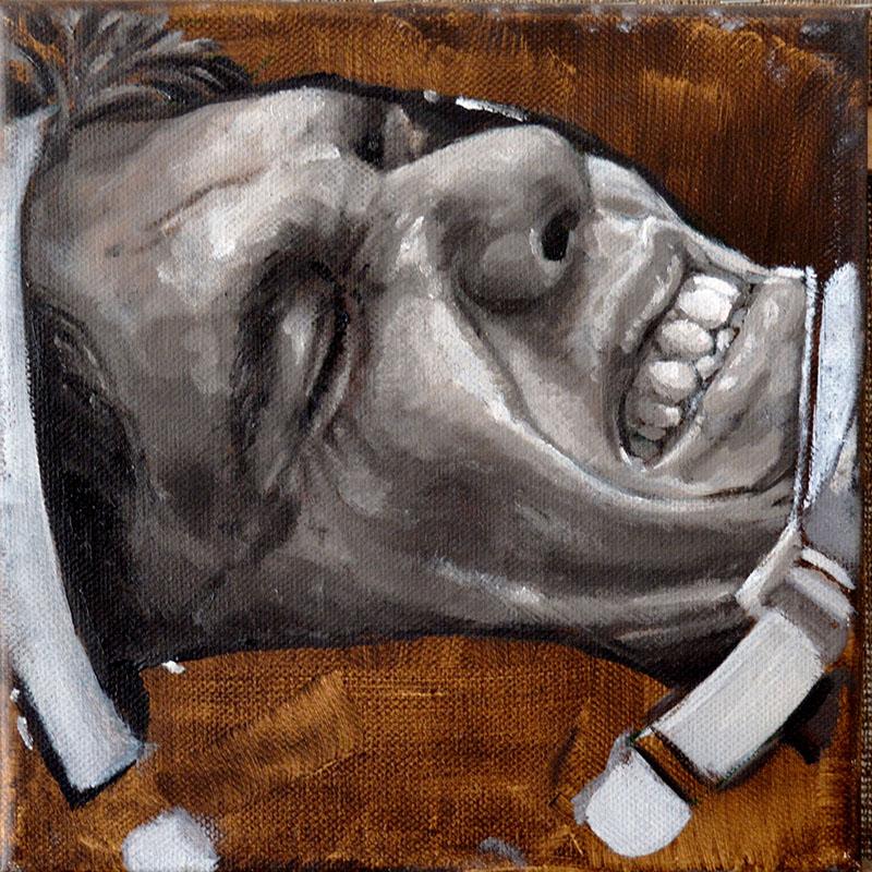 900 No title (wrestler), 2016, oil on canvas, 20x20